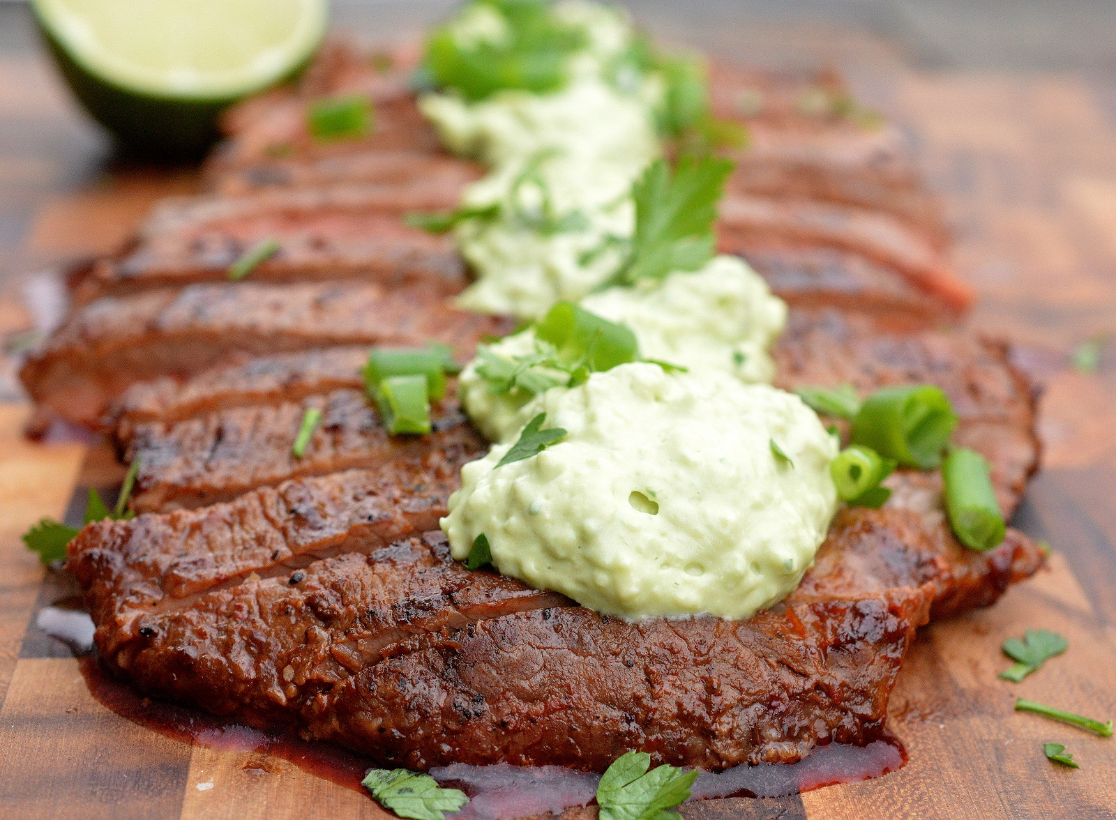 Chipotle Grilled Steak with Avocado Cream A delicious way to enjoy a steak!