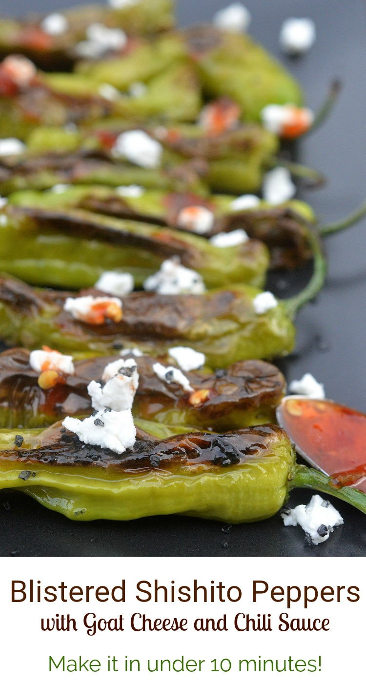 Blistered Shishito Peppers with Goat Cheese and Chili Sauce an easy, light appetizer made in under 10 minutes!