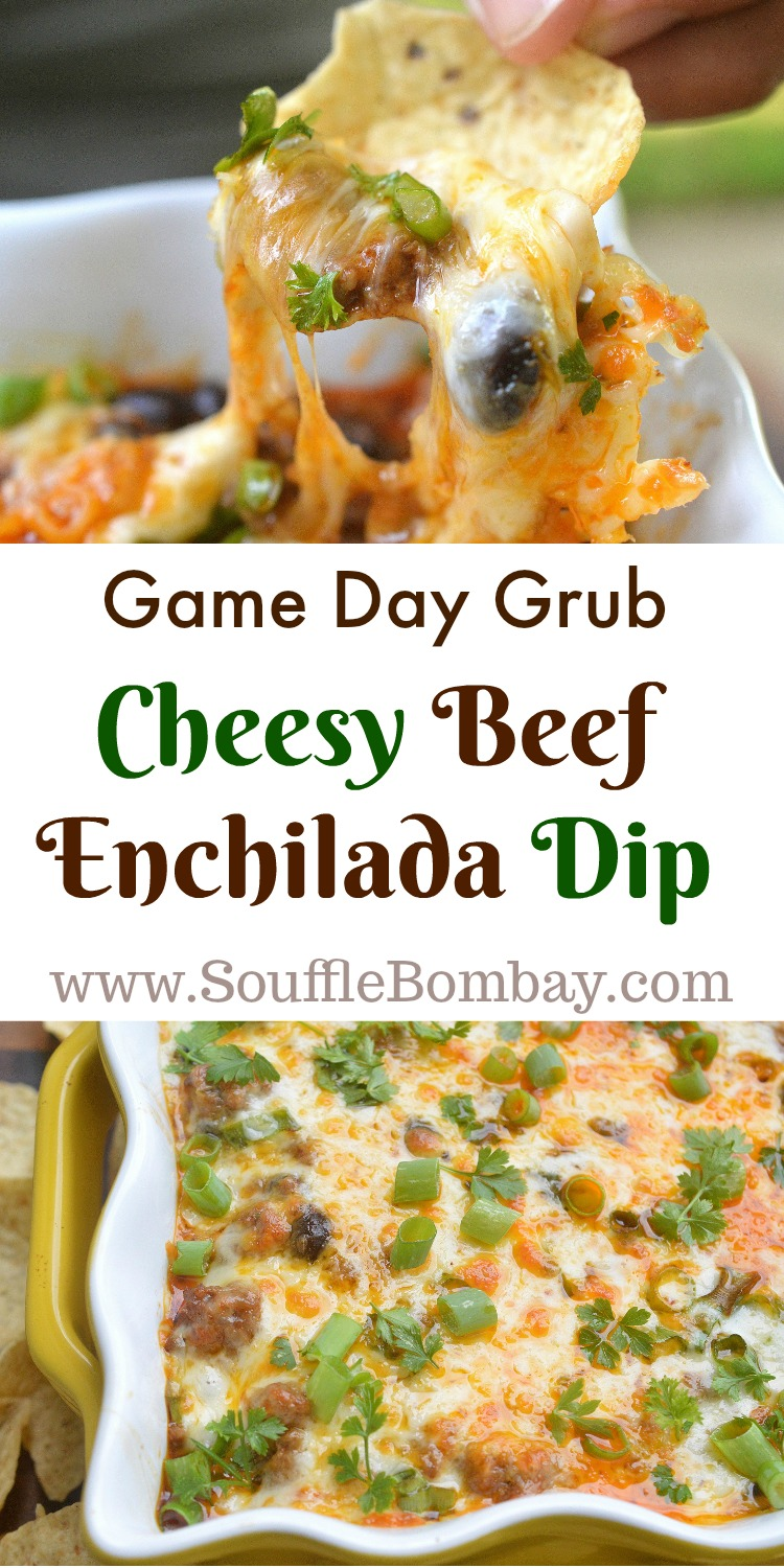 Game Day Grub Cheesy Beef Enchilada Dip - Easy and delicious! Gluten free.