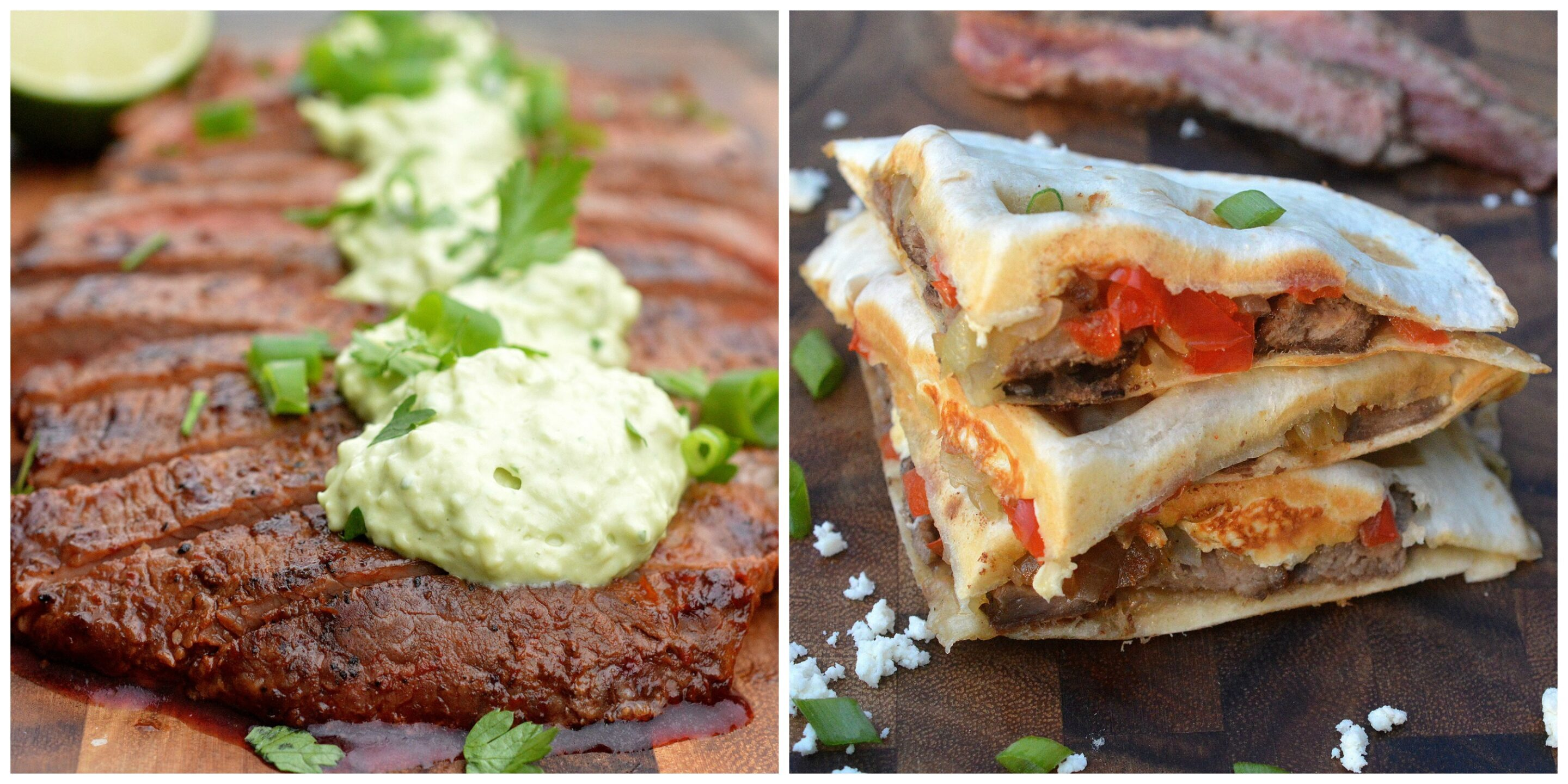 Grilled Chipotle Steak with Avocado Cream and Steak Quesadillas from Souffle Bombay