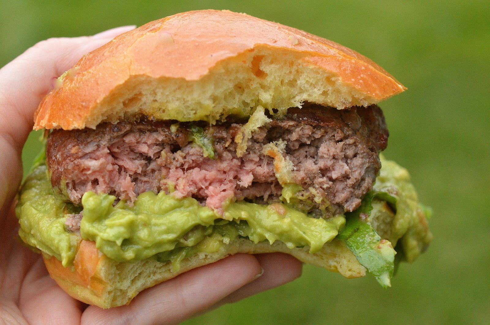 Guacamole Burgers. Creamy guac and the sweet & spicy kick of hot pepper jelly make these dairy-free burgers irresistible!