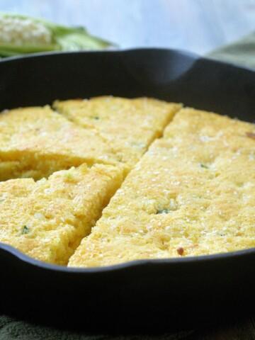Oprah's Skinny Cornbread Recipe made in a cast iron skillet