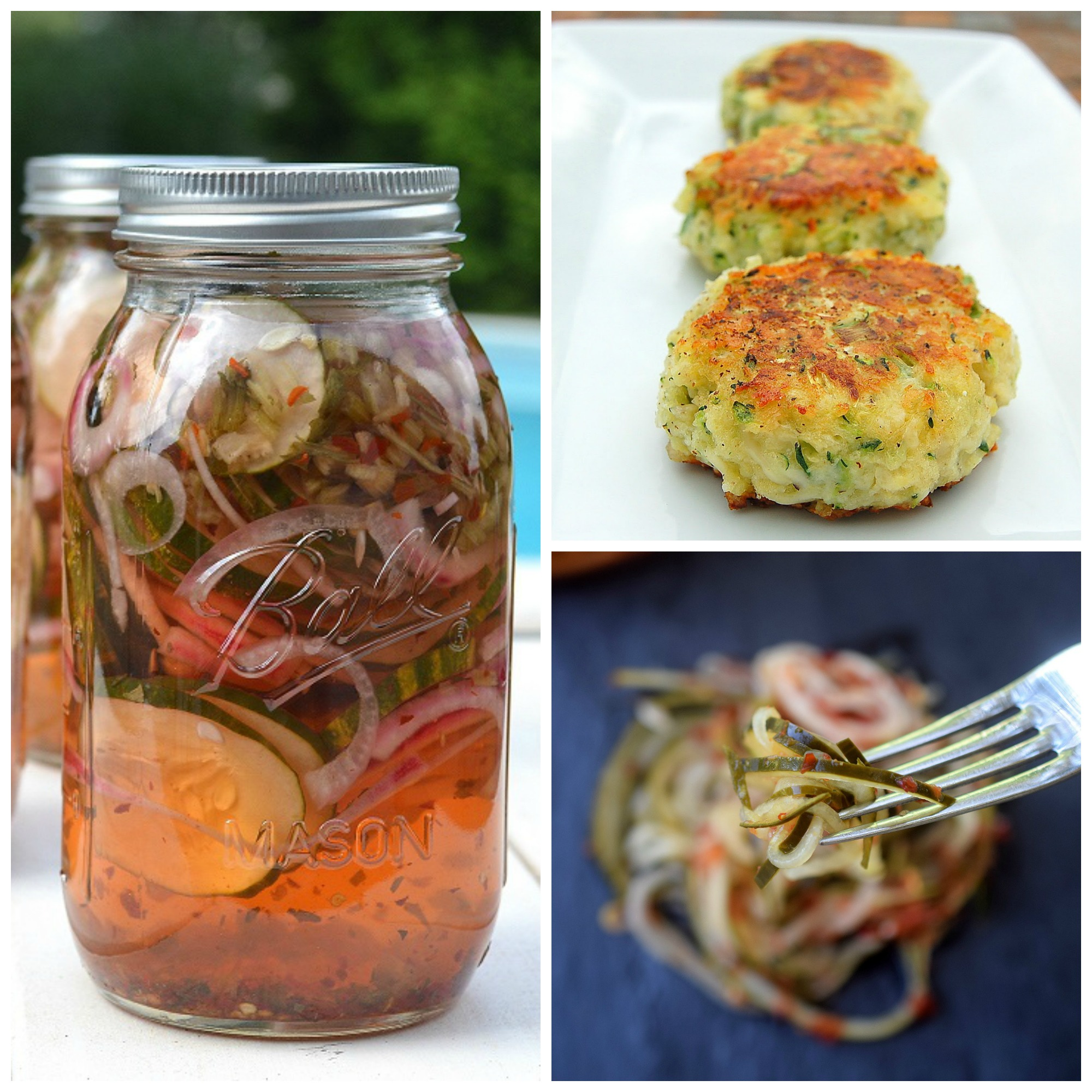 Quick Sweet & Spicy Cucumbers, Spiralized Quick Sweet & Spicy Cucumbers and Zucchini Parmesan Cakes from Souffle Bombay