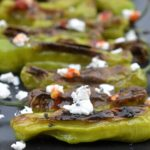 Shishito Peppers with Goat Cheese and Chili Sauce and easy, light appetizer