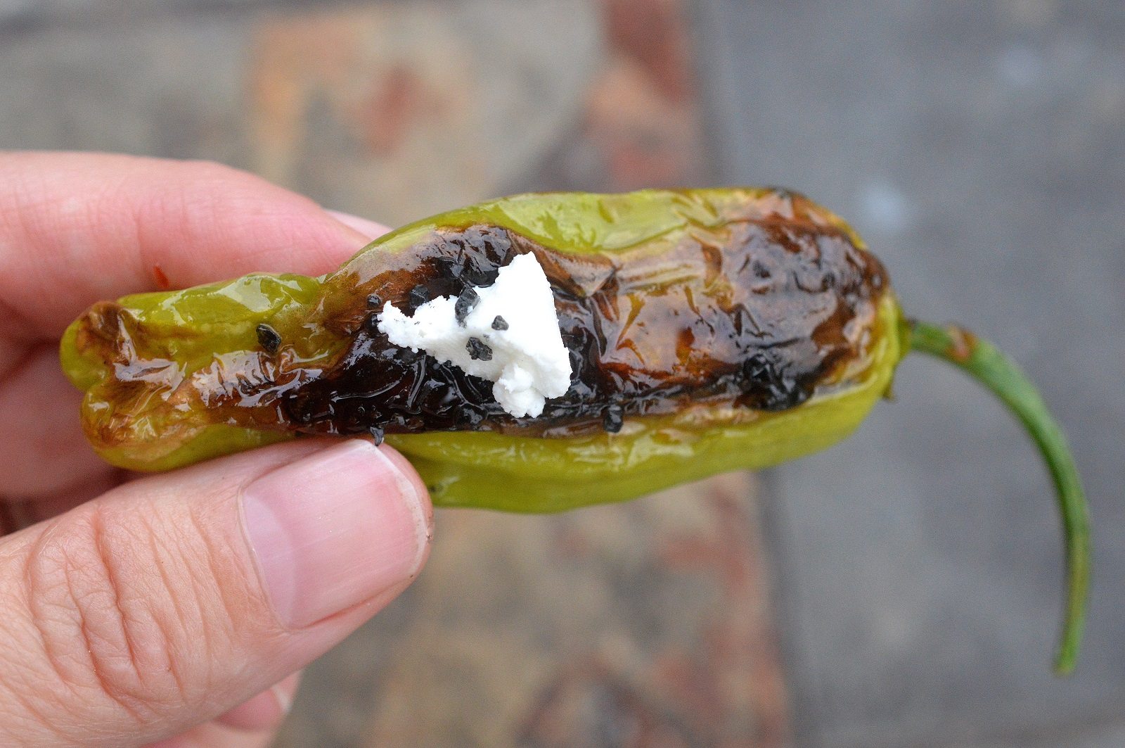 Shishito Peppers with Goat Cheese and Chili Sauce an easy, light appetizer
