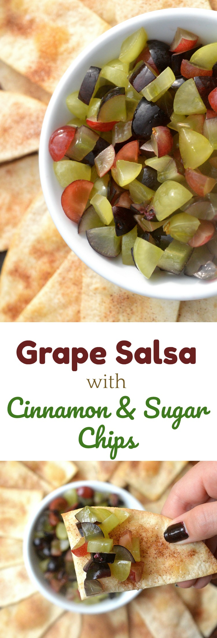 Grape Salsa with Cinnamon & Sugar Chips Yum! Easy, healthy & delicious!