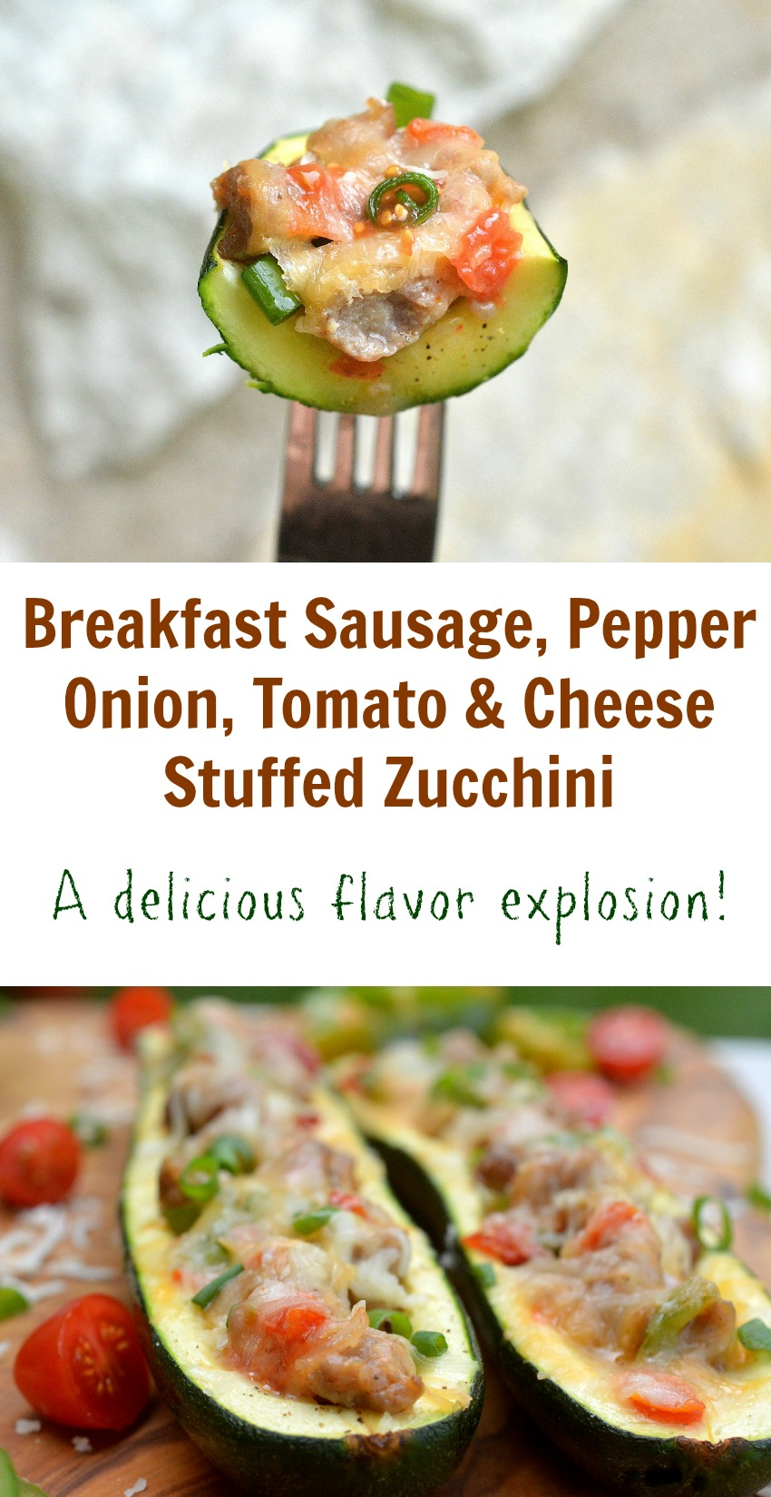 Pepper, Onion, Tomato and Cheese Stuffed Zucchini THIS is an explosion of flavors, healthy & perfect for breakfast, lunch or dinner!