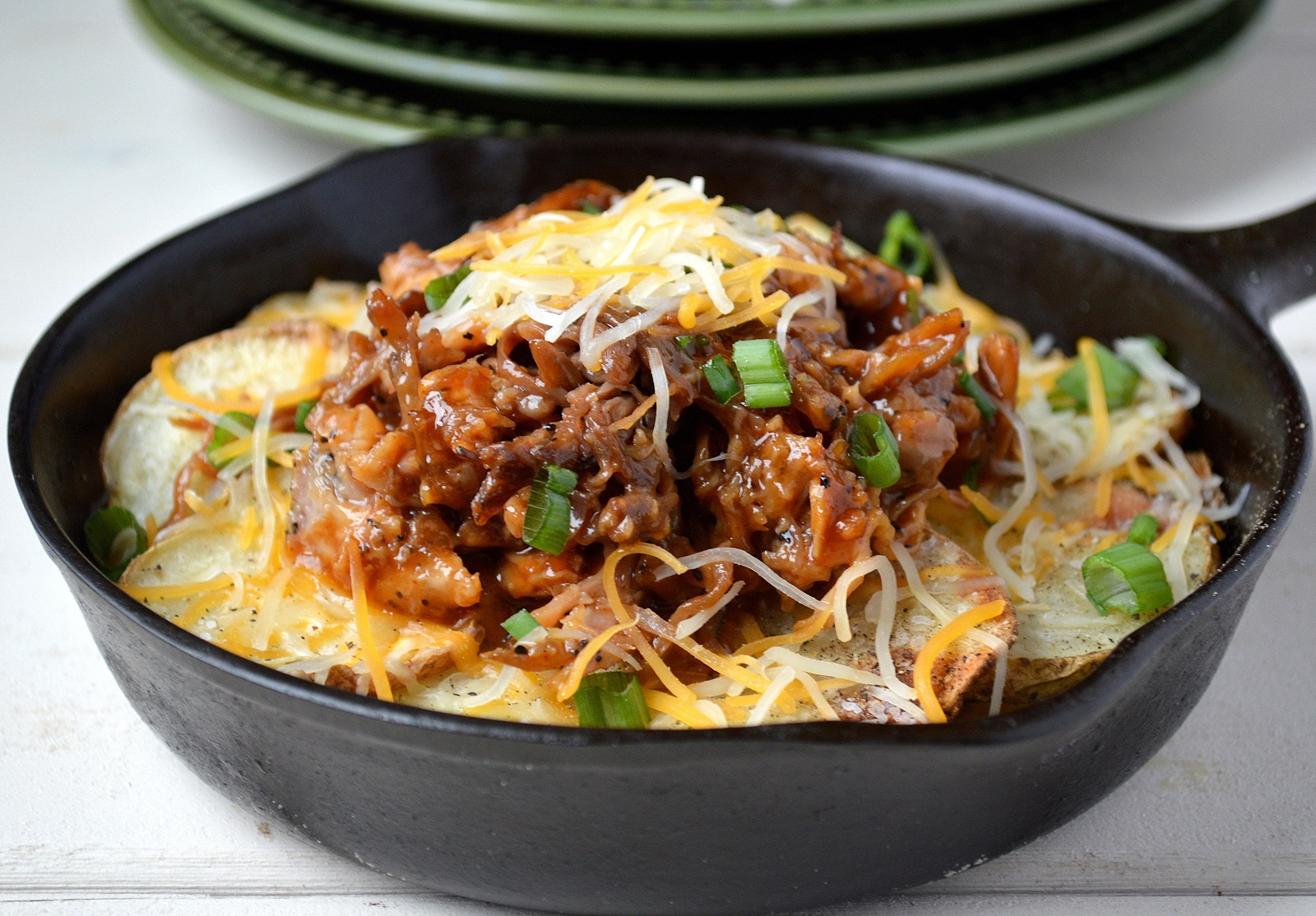 Pulled Pork Potato Nachos. Crisp potato rounds, flavorful pulled pork and cheese, whats not to love