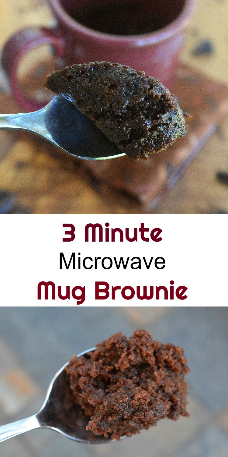 How to make a 3 Minute Mug Brownie in your microwave! Satisfy a chocolate or sweet craving...fast!