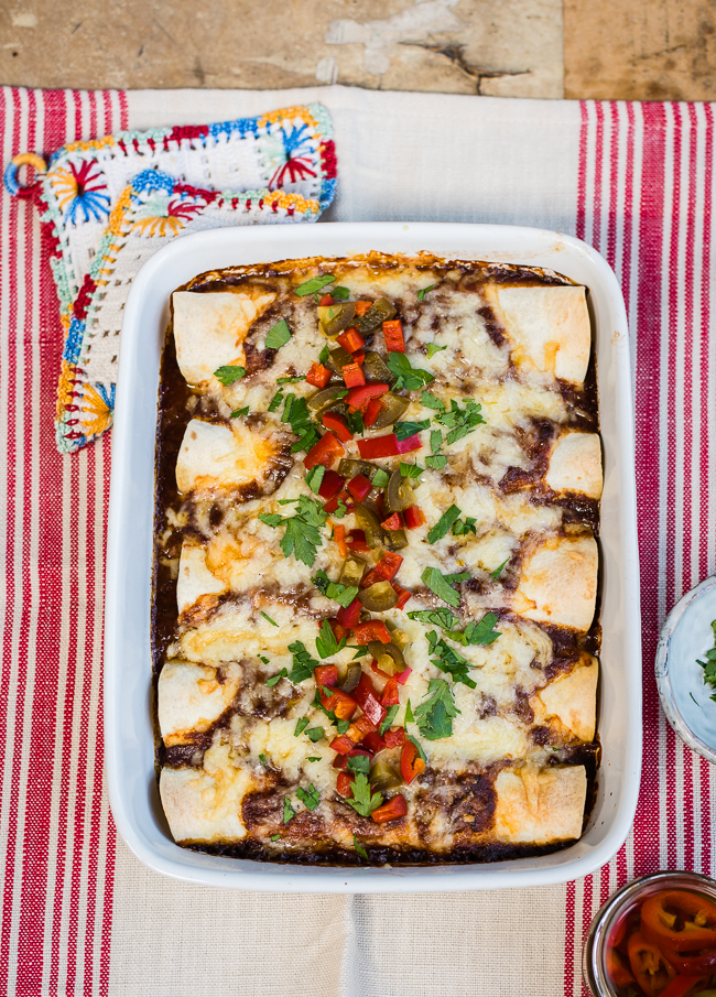Slow Cooker Mole Pork Enchiladas