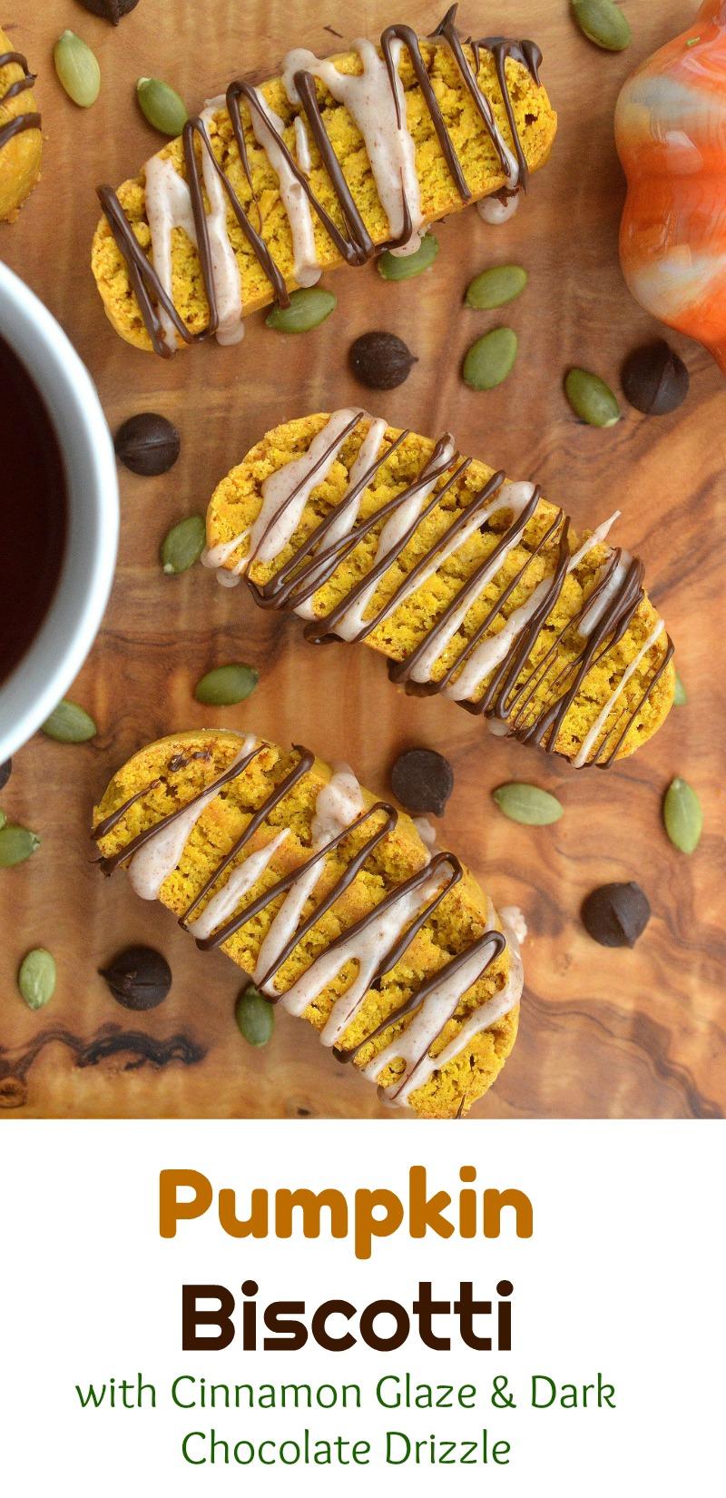 So good (and easy to make!!) Pumpkin Biscotti Recipe with Cinnamon Glaze & Dark Chocolate Drizzle