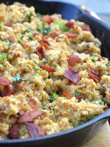 Bacon Sage Cornbread Stuffing (Bacon!!)