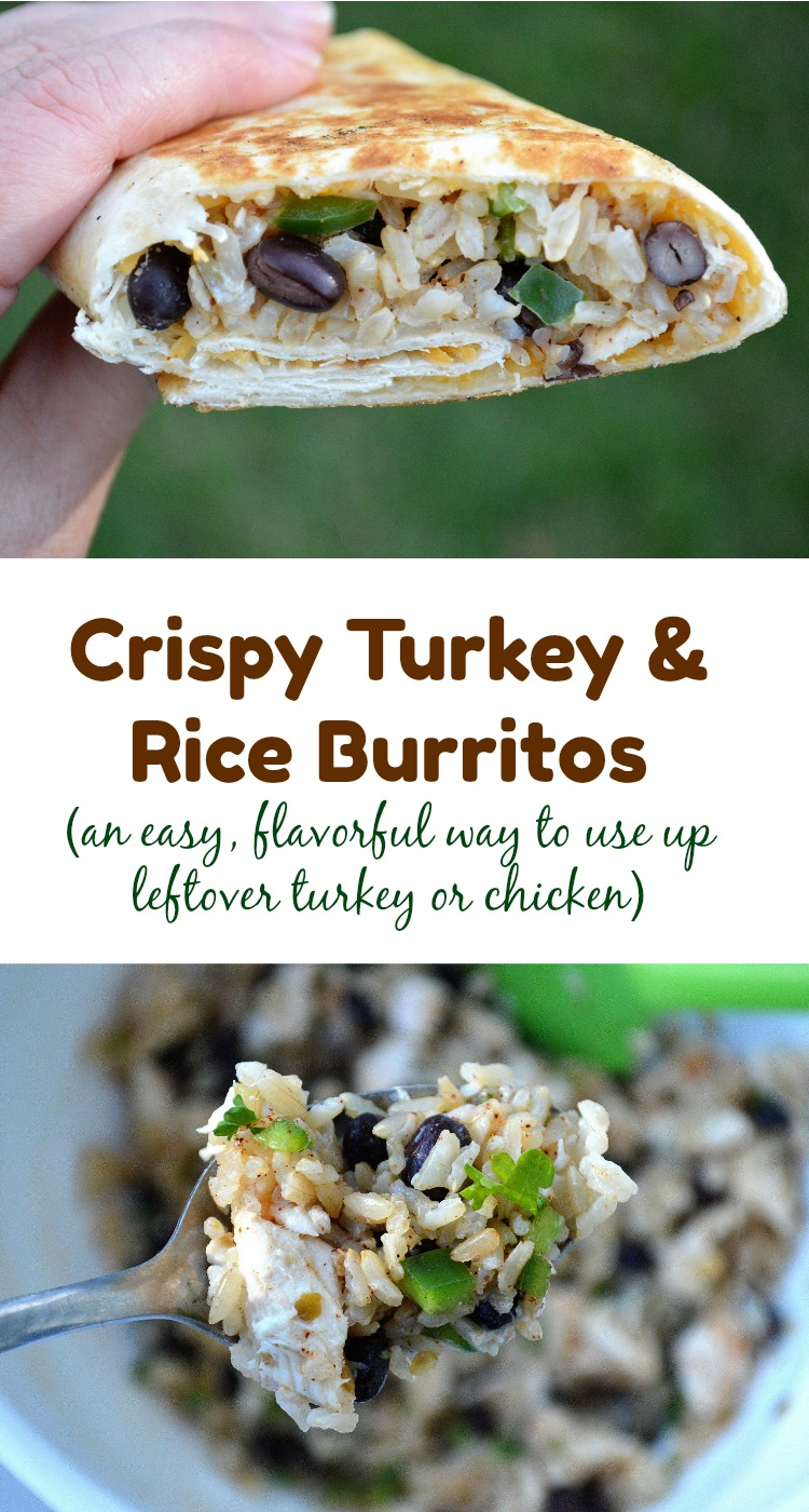 Crispy Turkey & Rice Burritos! An easy & flavorful way to use up leftover turkey or chicken!