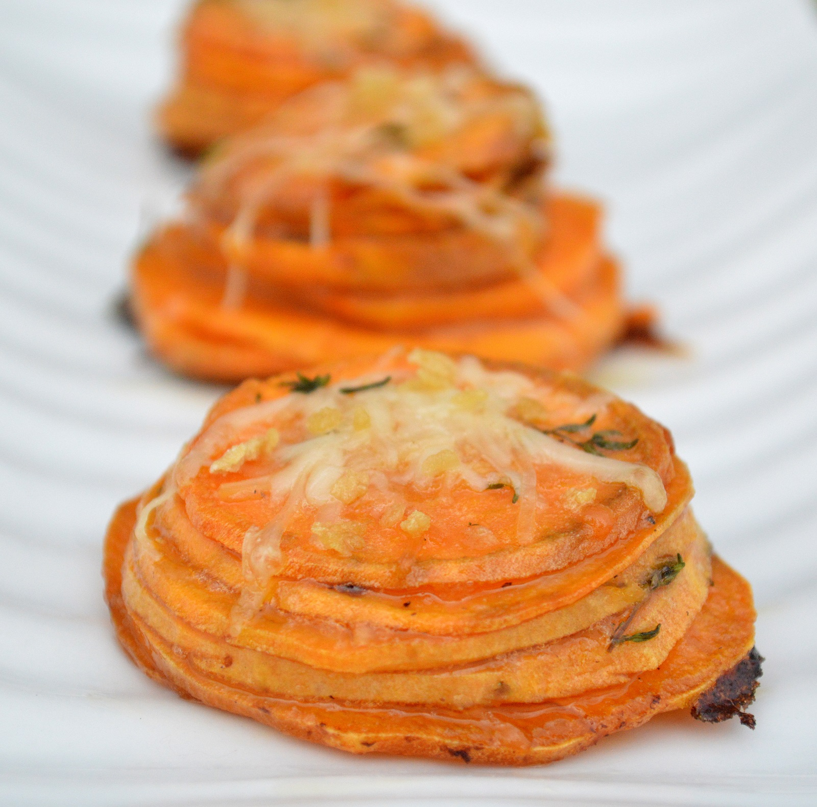 Maple Butter Sweet Potato Stacks, pretty, delicious and easy to make plus much lighter than a casserole