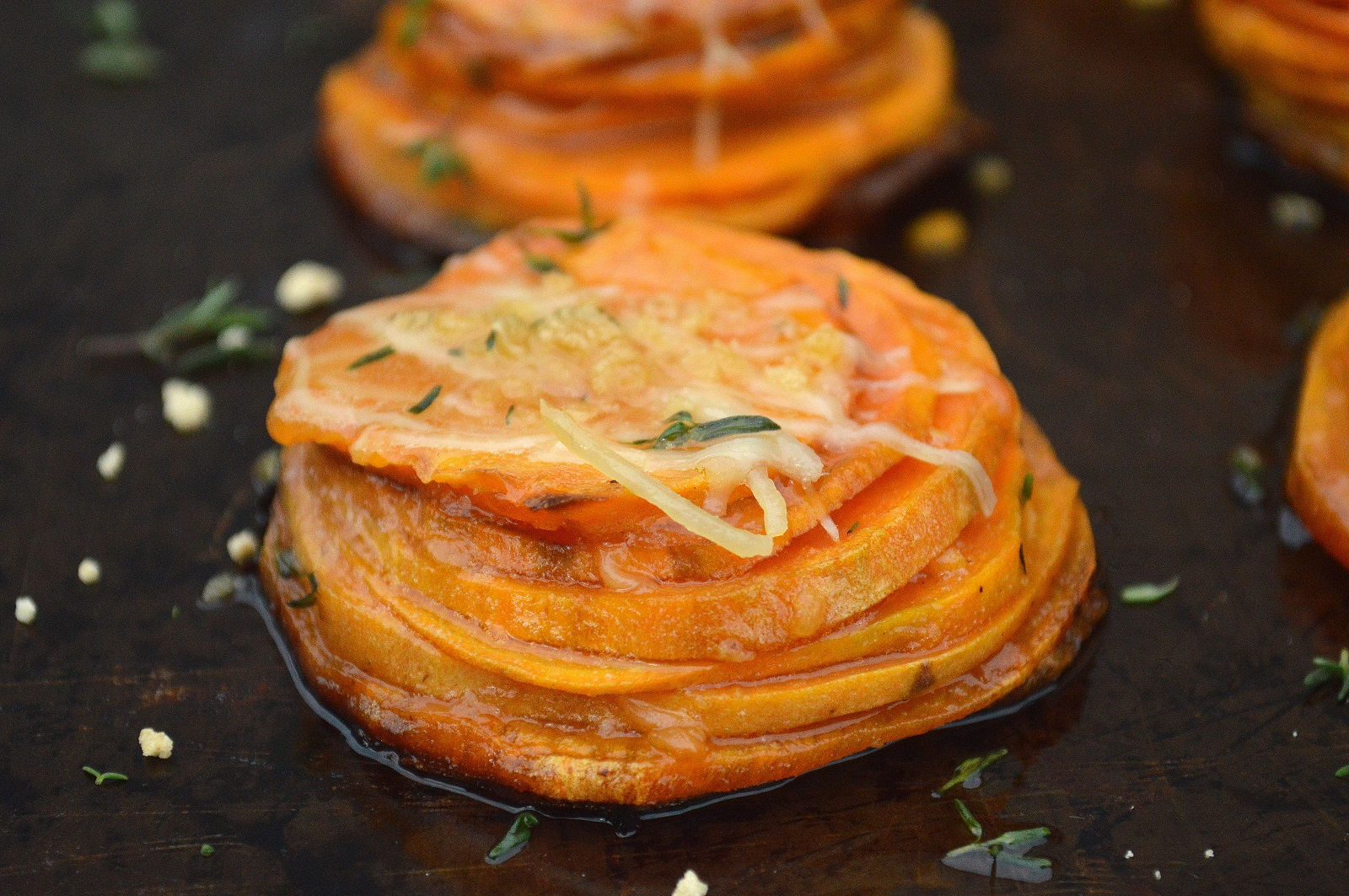 Maple Sweet Potato Stacks - Pretty, delicious and easier to make than you think! Plus they are lighter than a casserole, yet full of flavor