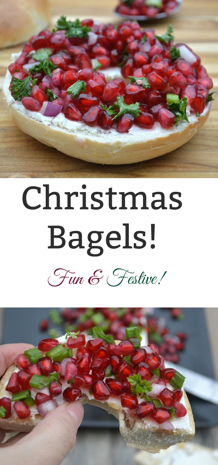 Christmas Bagels! Fun, easy & festive! Honey Lime syrup, pomegranate salsa & cream cheese on a bagel...Yum!