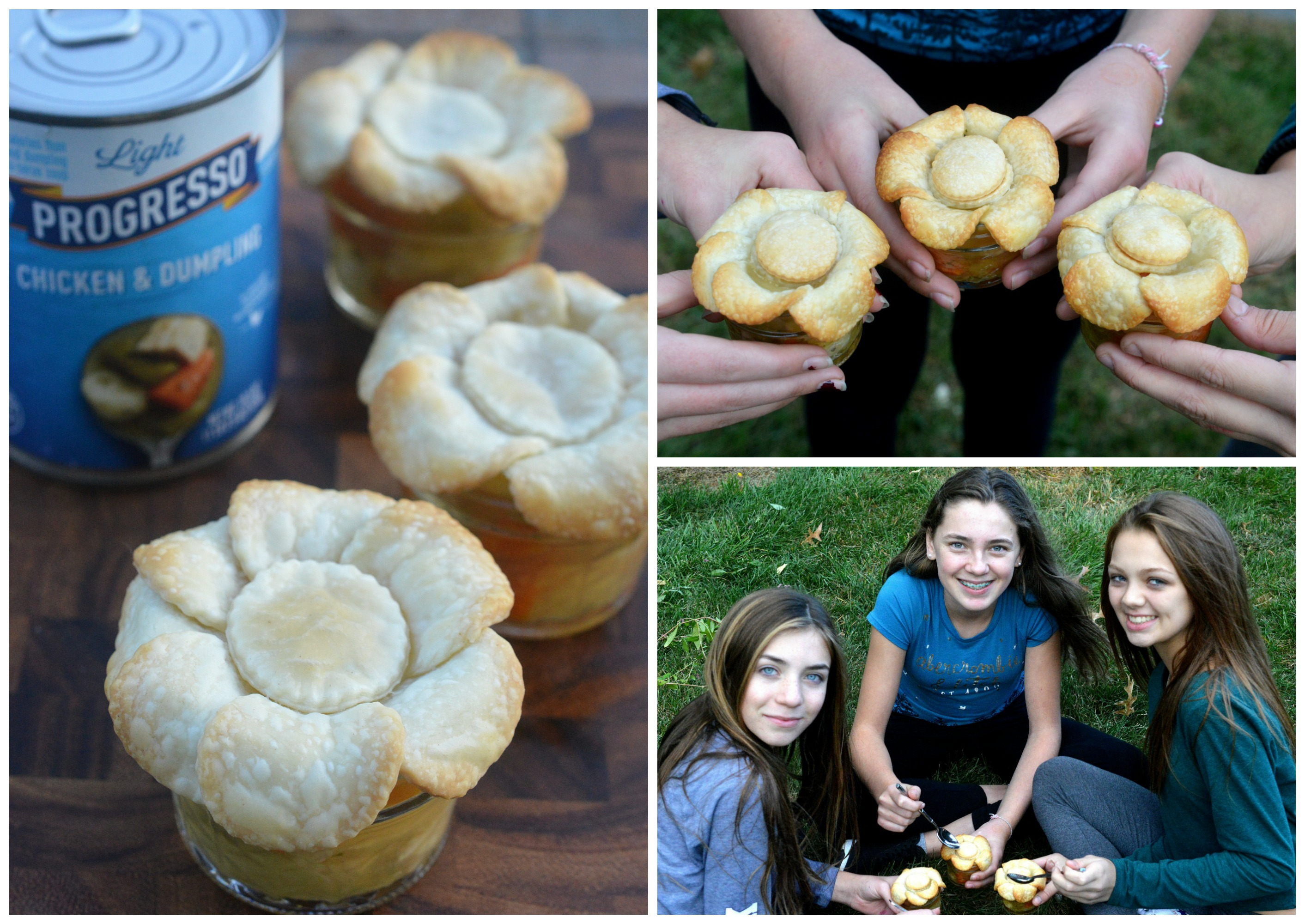 Mini Soup Jars are topped with pie crust that they dunk like a cracker. They are fun for the kids to make and eat!