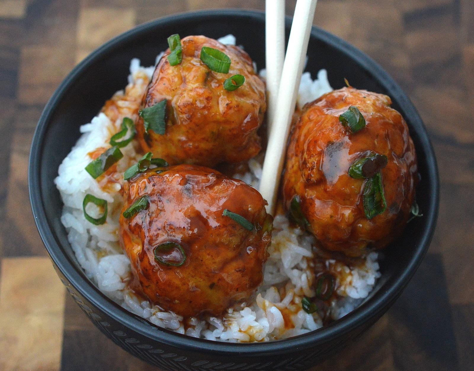Sticky Chicken Meatball recipe on white rice