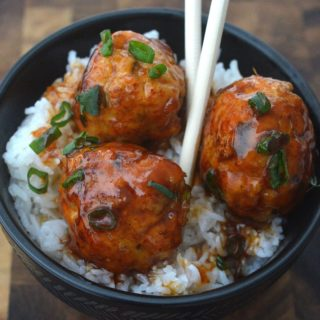 Sticky Chicken Meatballs Over Rice. A 20 minute meal full of flavor!