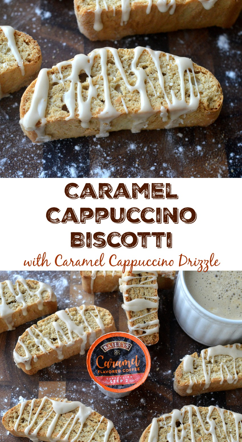 Caramel Cappuccino Biscotti with Caramel Cappuccino Drizzle! Easy to make and deliciously different!