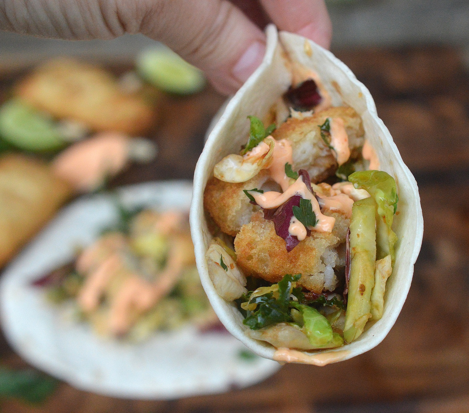 Crispy Fish Tacos with Asian Slaw and Sriracha Mayo