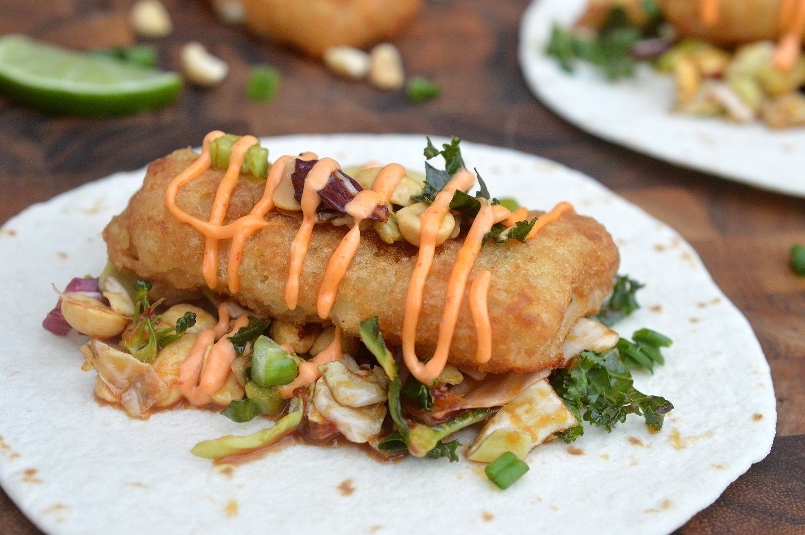 Crispy Fish Tacos with Asian Slaw and Sriracha Mayo
