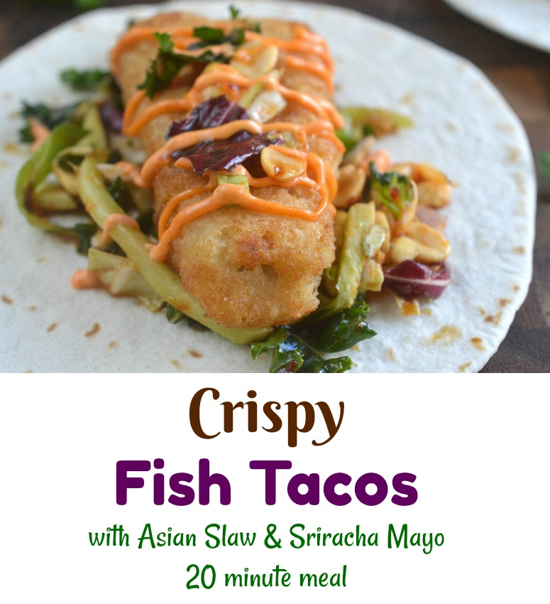 Crispy Fish Tacos with Asian Slaw and Sriracha Mayo. These are crisp, full of flavors and SO easy to make!