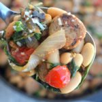 One Pot Chicken Sausage, Beans & Kale! Healthy, delicious and on the table in under 30 minutes!