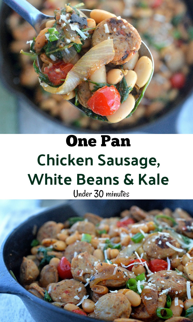 One Pot Chicken Sausage, Beans & Baby Kale! Healthy, delicious & on the table in under 30 minutes! So easy to customize to your taste