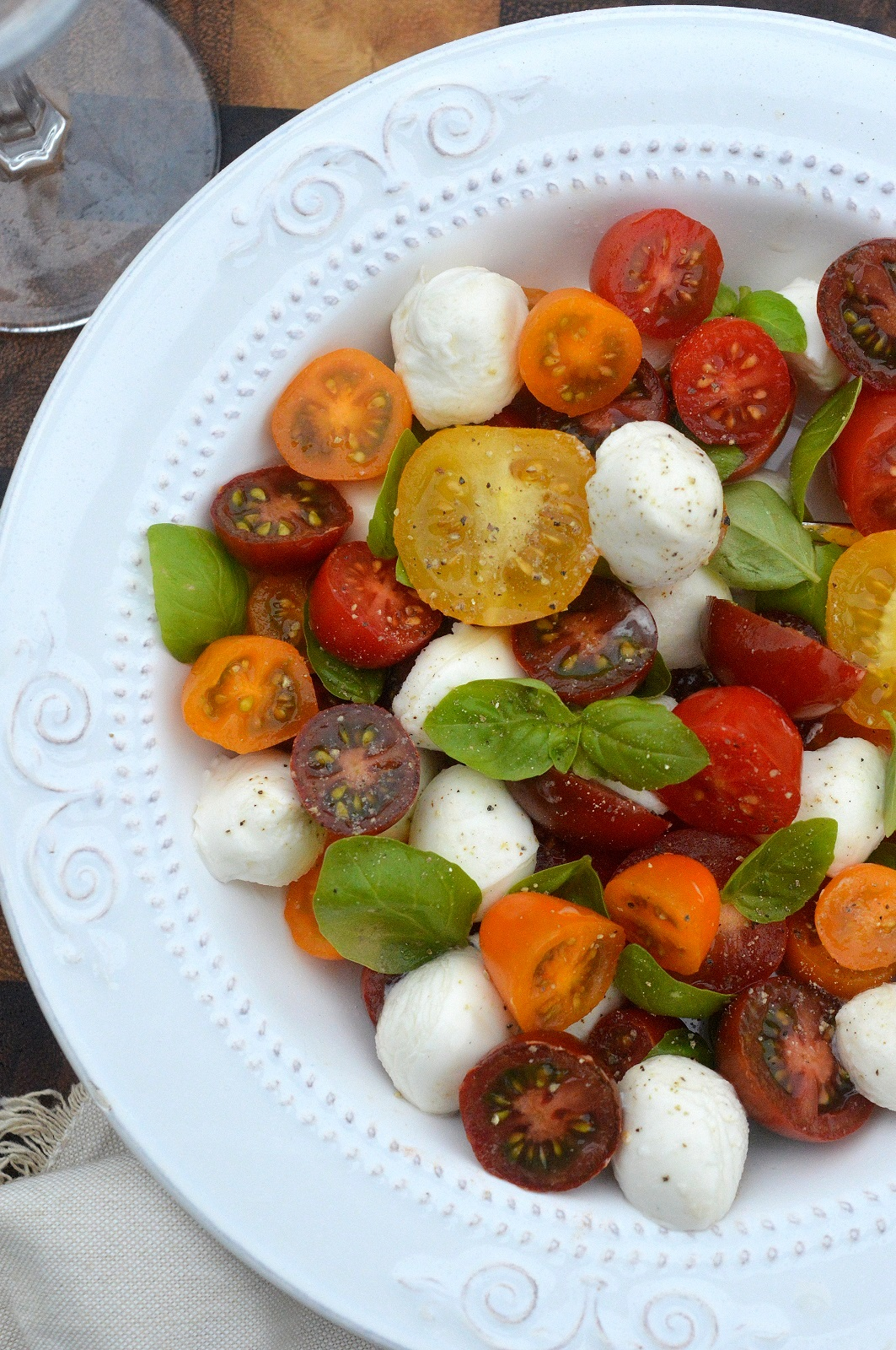 Liven up your Caprese Salad with colorful artisan or heirloom tomatoes, mmmm