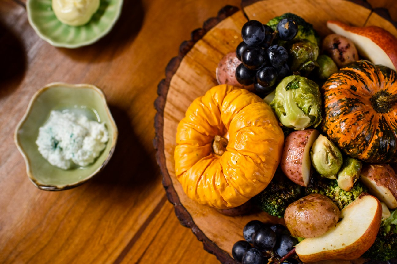 Cheeseboard with Roasted Pumpkins
