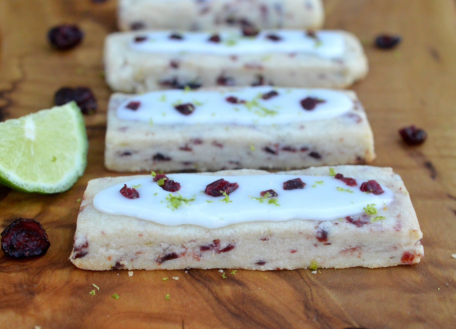 Cranberry Lime Shortbread Cookie. Delicate, light, fun & festive!