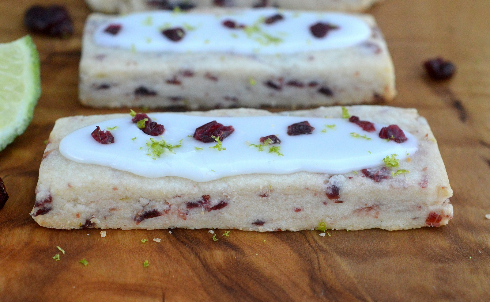 Cranberry Lime Shortbread Cookies