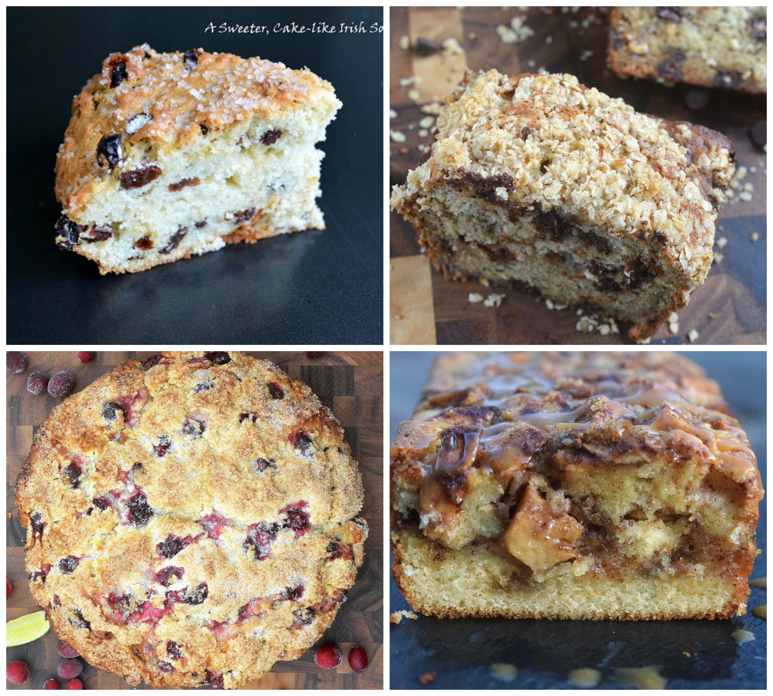 4 Delicious Quick Bread Recipes. Irish Soda Bread, Banana Streusel Bread, Cranberry Lime Soda Bread Apple Caramel Bread