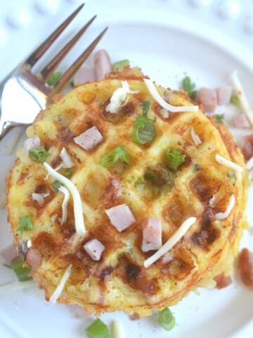 Ham & Cheese Hash Brown Waffles