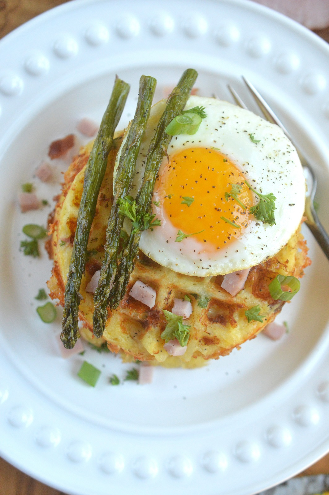 Ham & Cheese Hash Brown Waffles (perfect for brucnh dressed up with an egg and roasted asparagus)