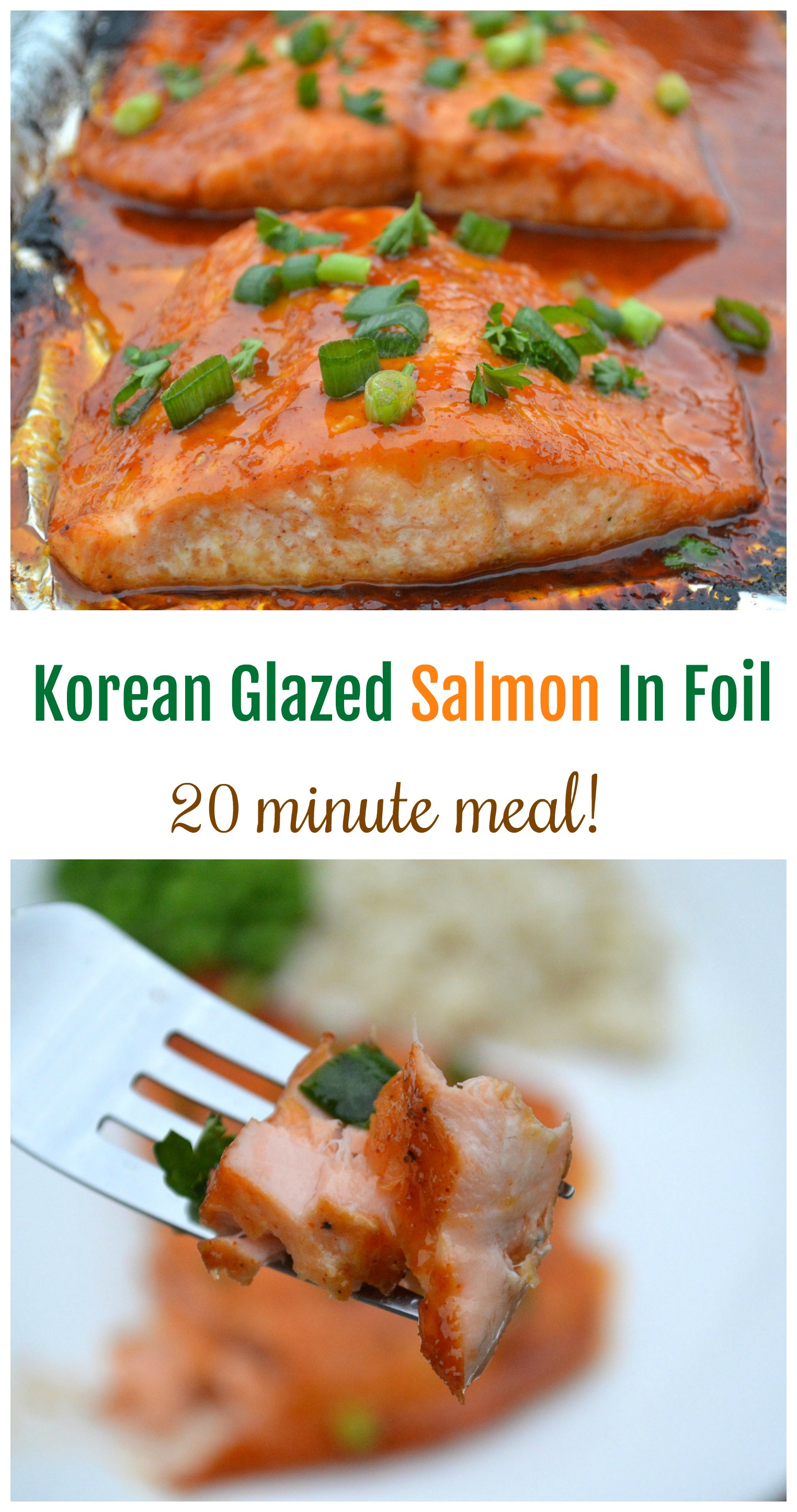 Korean Glazed Salmon in Foil Recipe, packed with protein and just 20 minutes to make!