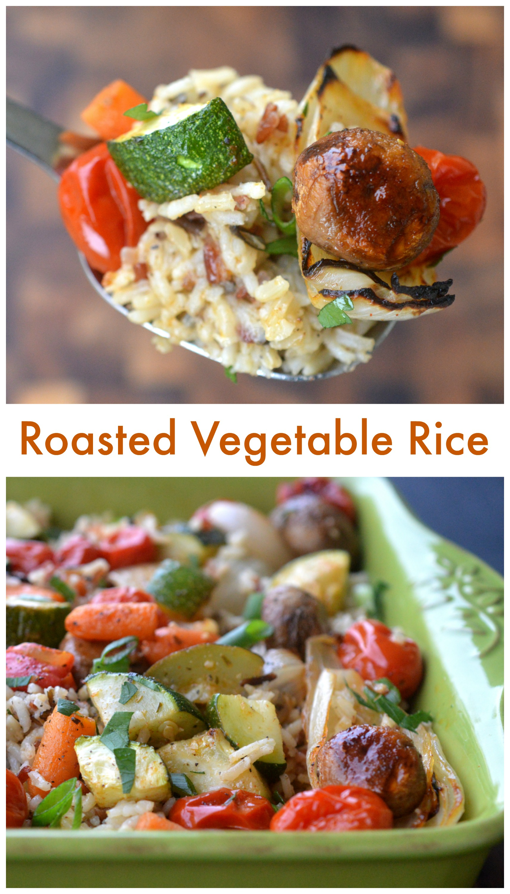 Roasted Vegetable Rice Recipe, perfect as a side or as a meatless main dish