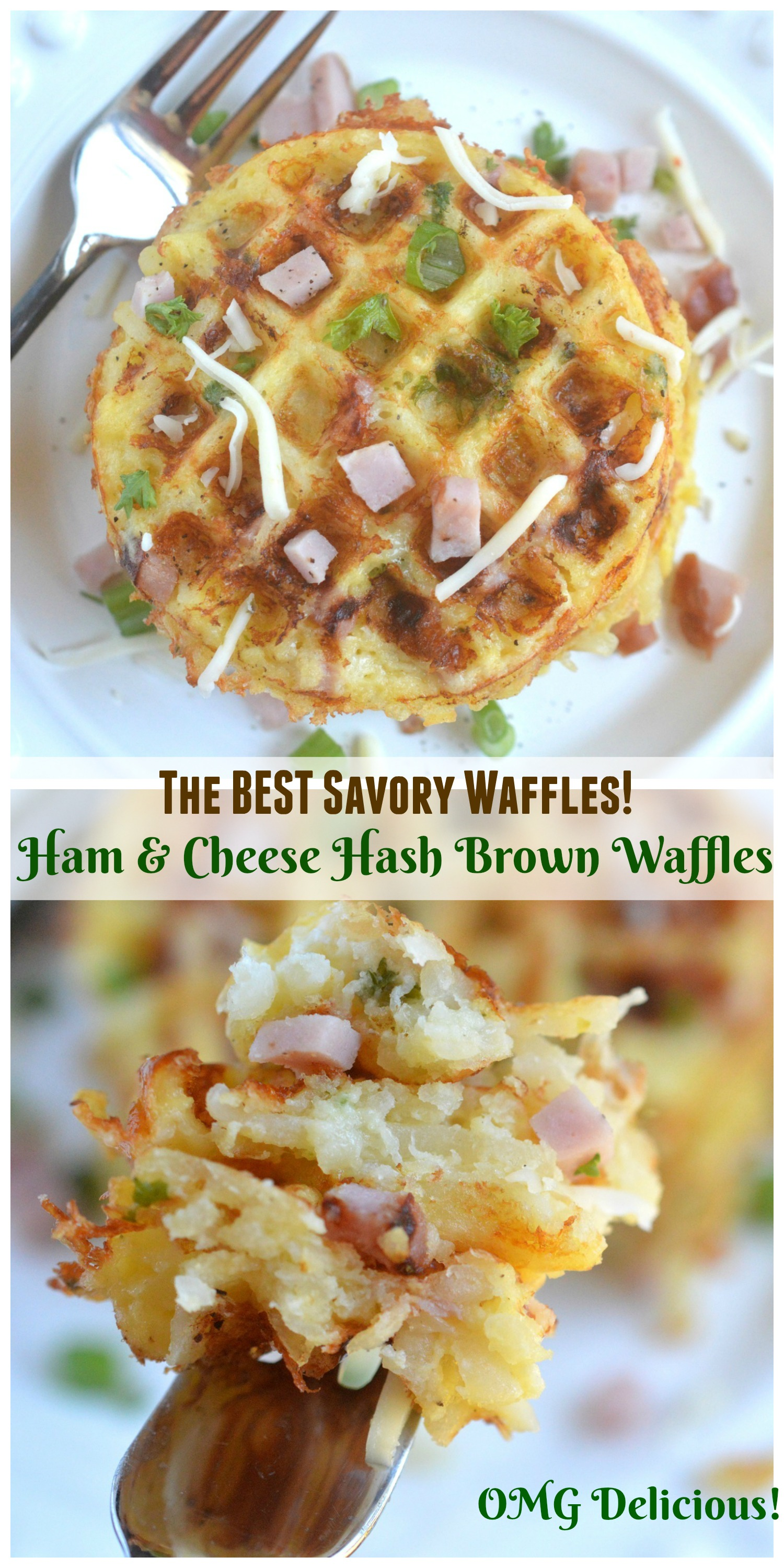 The BEST Savory Waffles - Ham & Cheese Hash Brown Waffles