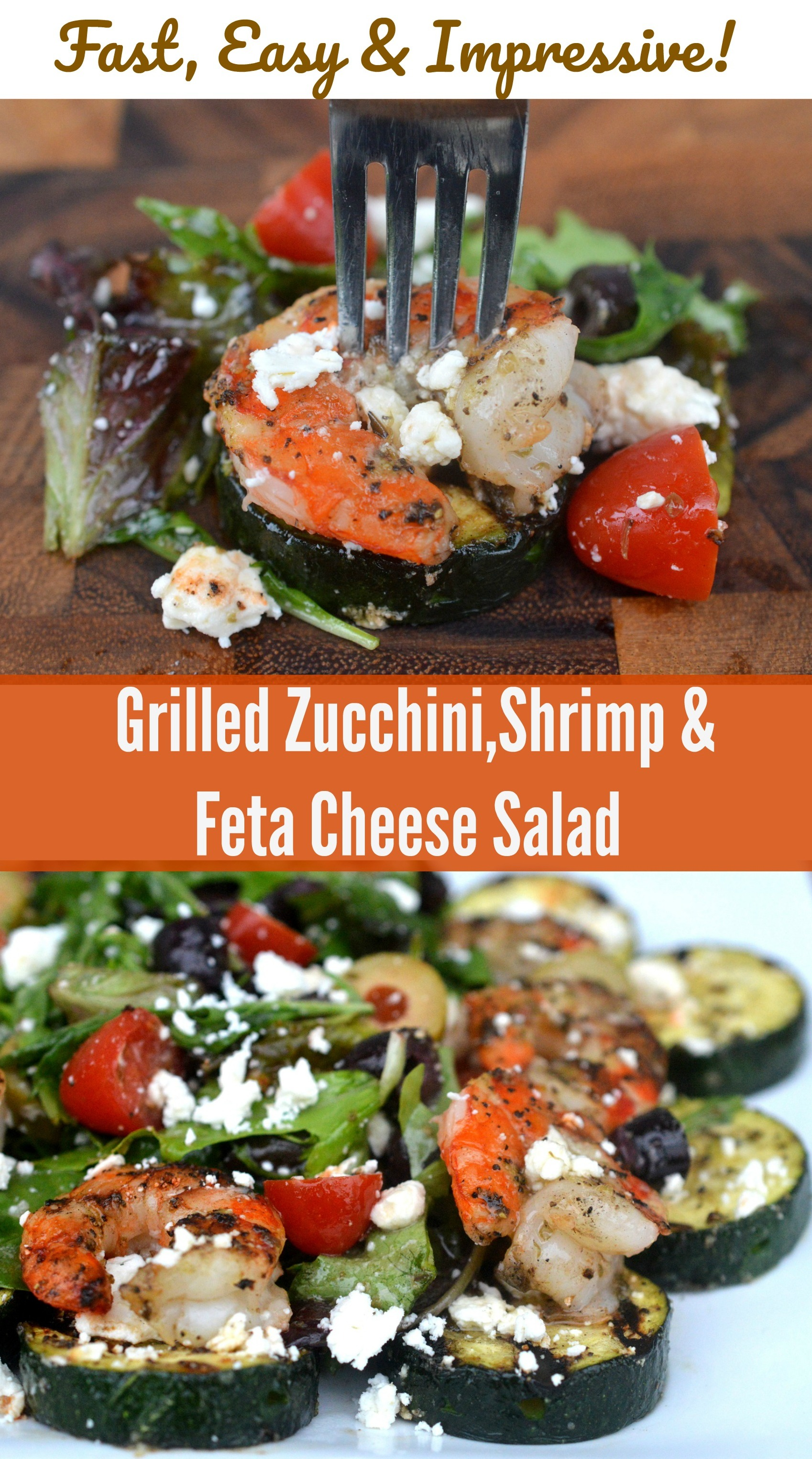 Fast Easy & Impressive Grilled Zucchini, Shrimp & Feta Cheese Salad