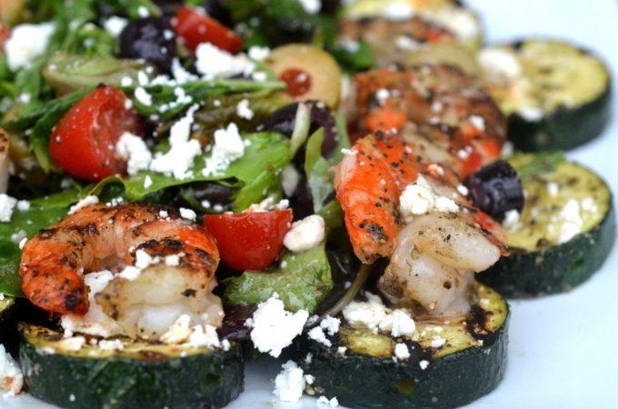 Grilled Greek Shrimp Zucchini & Feta Cheese Salad