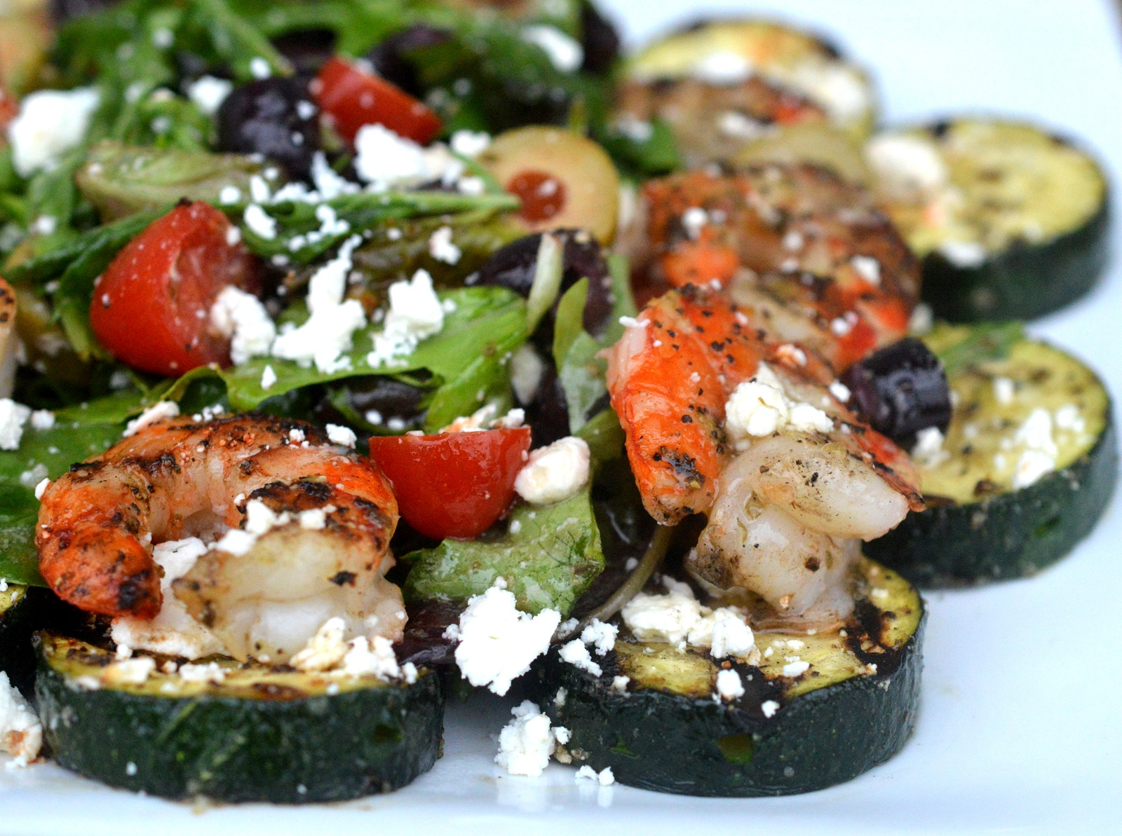 Grilled Greek Shrimp Zucchini & Feta Cheese Salad