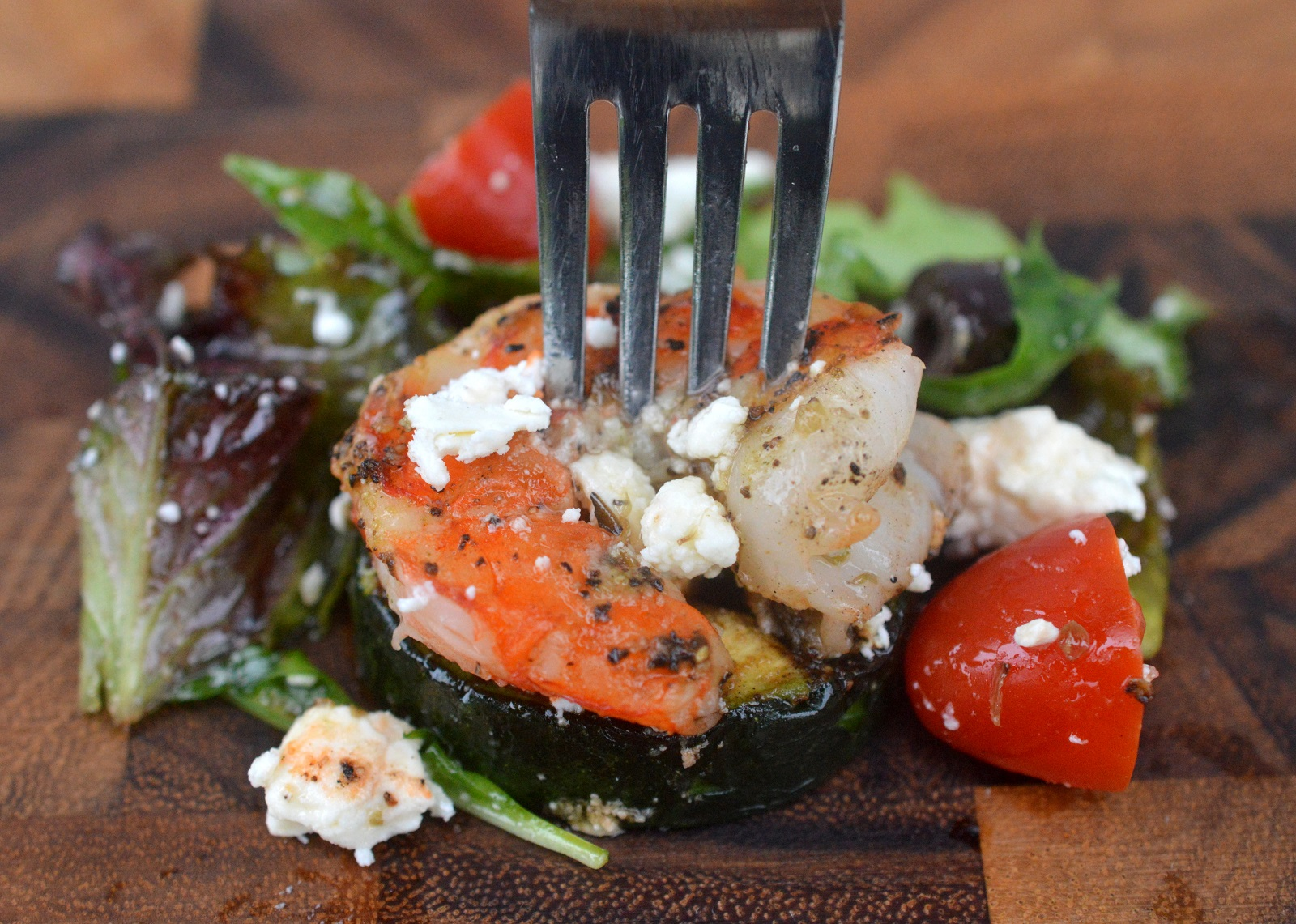 Greek Zucchini, SGrilled Shrimp & Feta Cheese Salad