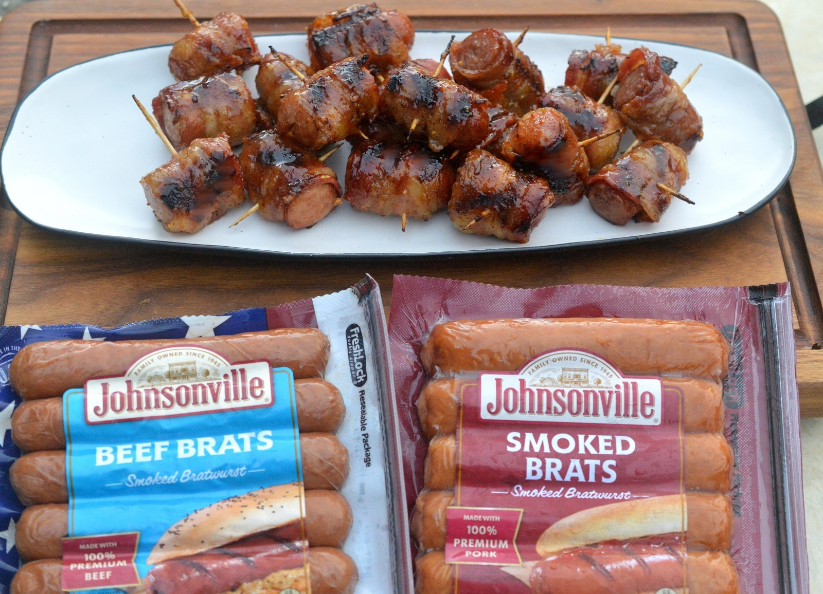Bacon Wrapped Smoked Sausage