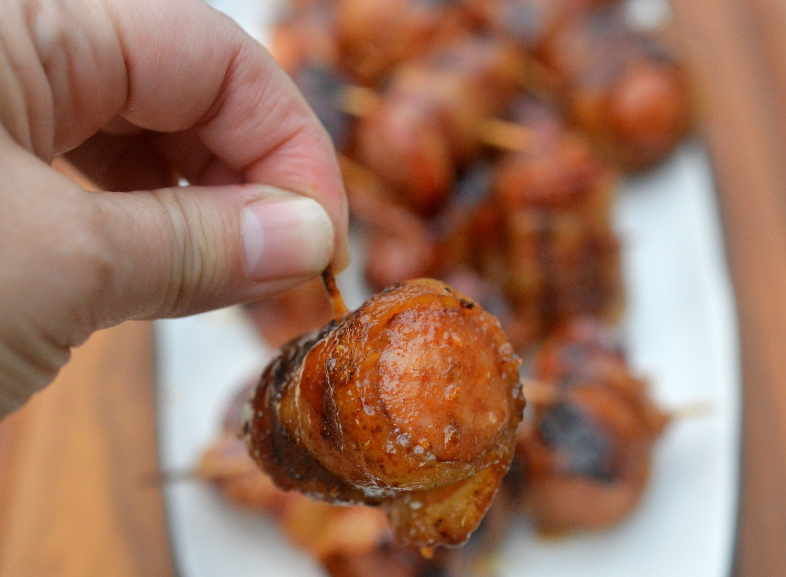 Glazed Bacon Wrapped Sausage Bites a perfect tailgating recipe!