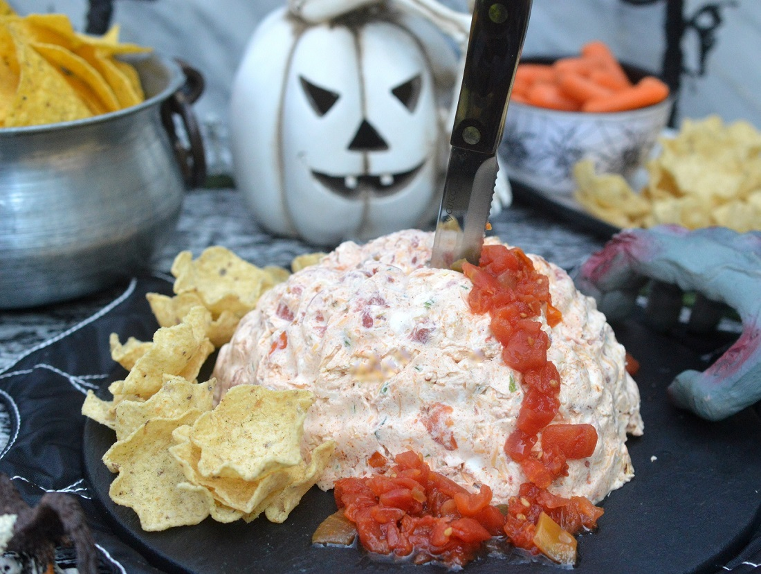 Fun and festive Mexican Halloween Brain Dip recipe