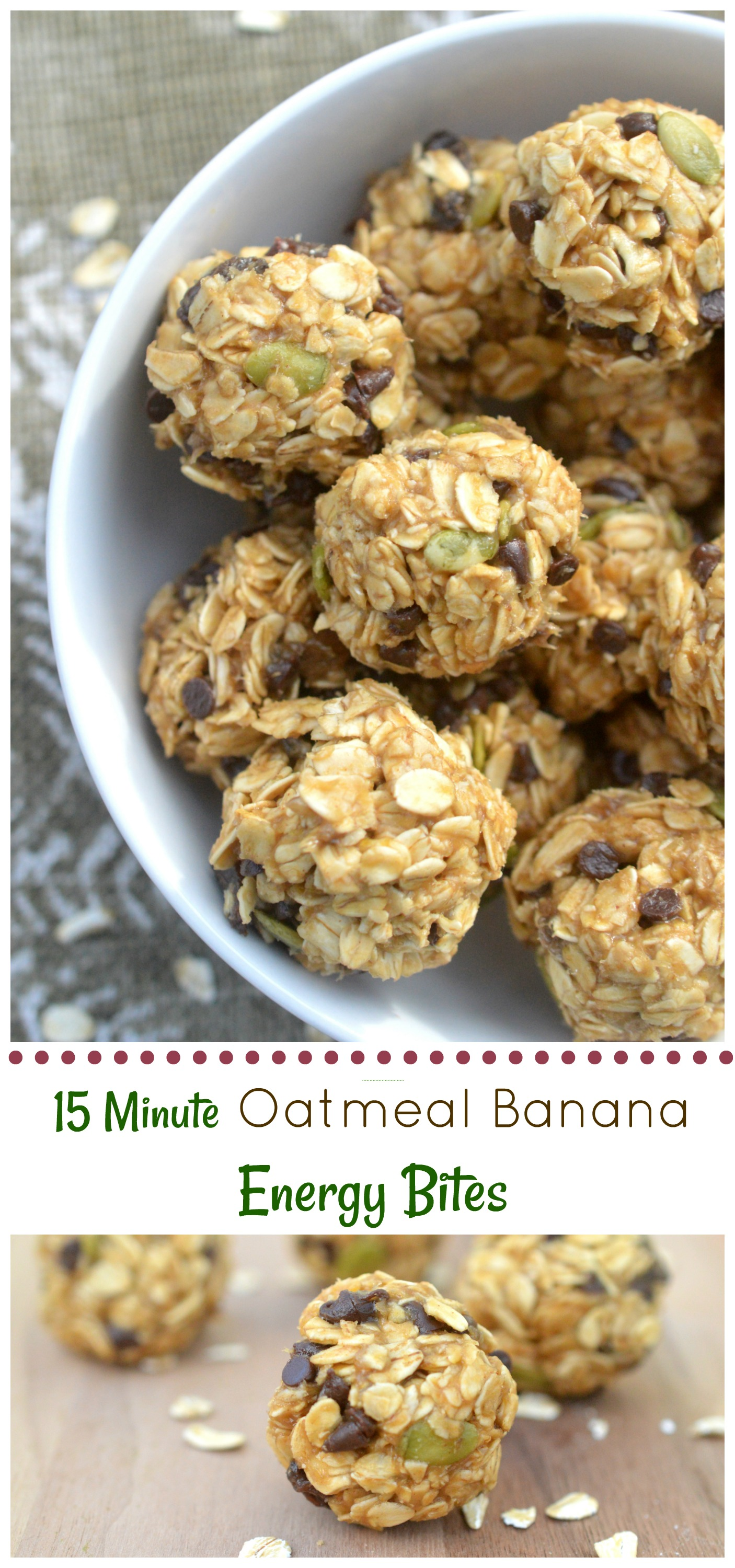 15 Minute Oatmeal Banana Energy Bites