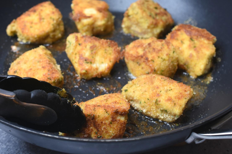 Frying Chicken for Chicken Parmesan Bites