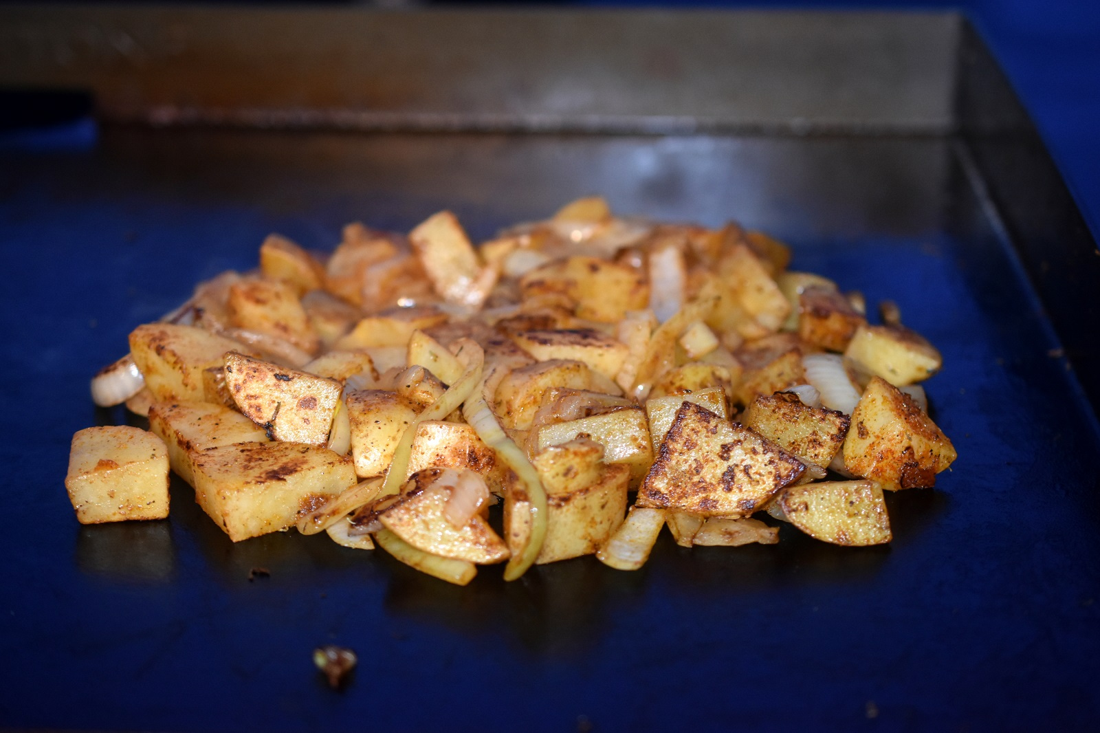 Potatoes cooked on Blackstone Griddle with Homemade Steak Seasoning
