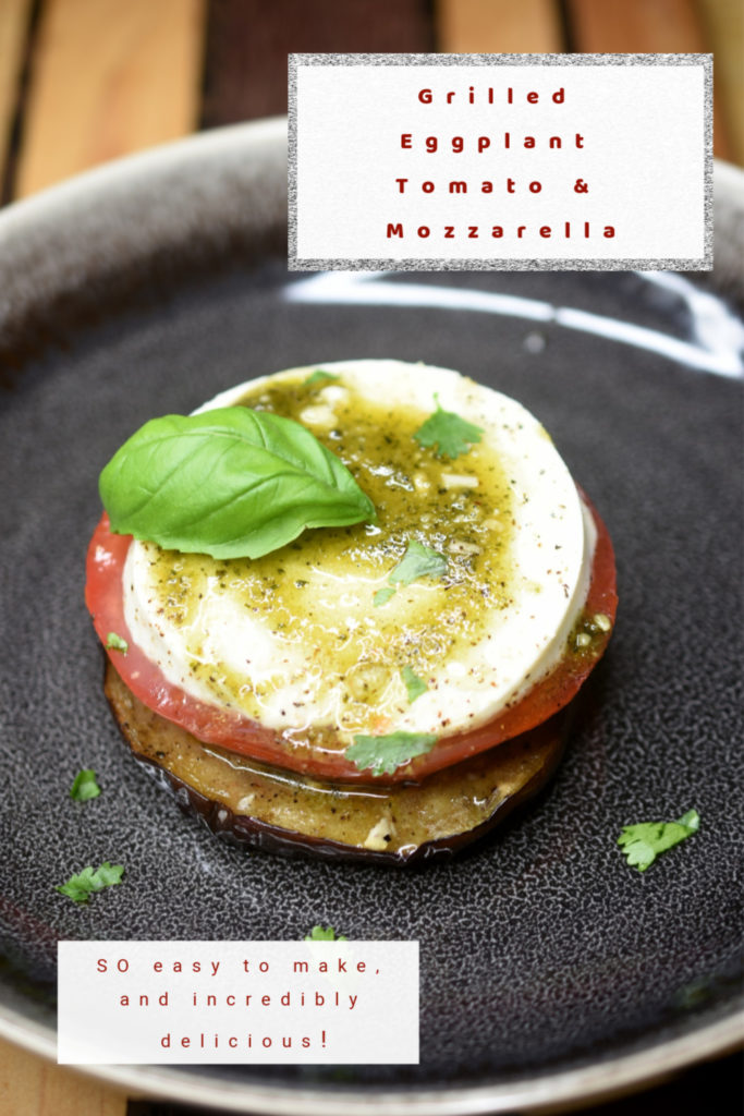 Grilled Eggplant Tomato & Mozzarella Stack in a shallow black bowl Pinterest Image